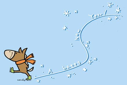 年賀状馬・午年|お馬さんアイススケートA HAPPY NEW YEAR