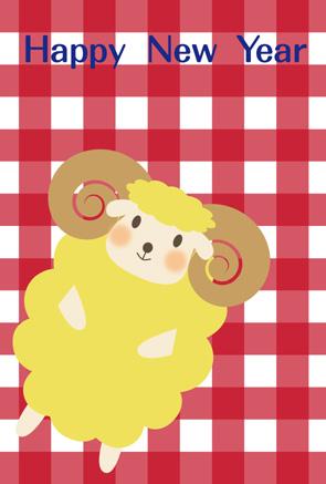 赤チェック羊イラスト年賀状