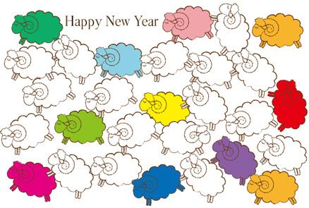 【無料かわいい未年年賀状】シンプル&カラフルひつじの群れイラスト年賀状