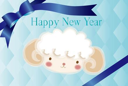 無料の横型年賀状青系羊のイラストプレゼント風リボン