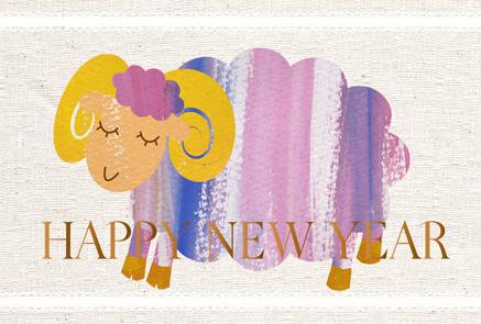 カンバスにペイント風紫系羊イラスト