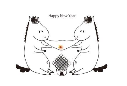白背景&白馬とお餅無料年賀状イラスト