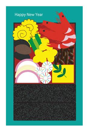 【無料イラスト年賀状】おせち料理グリーン背景