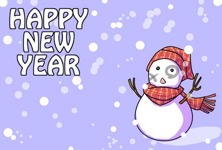 【無料年賀状イラスト】雪だるまHAPPY NEW YEAR