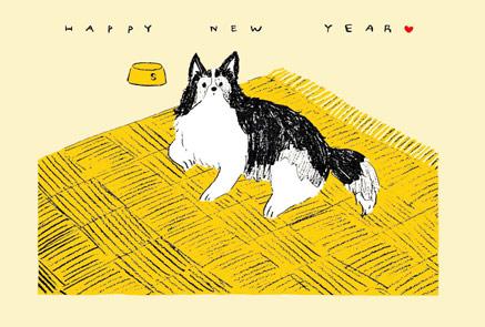 【かわいい手書き戌年年賀状】コリー犬【無料】