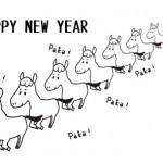 モノクロシンプルお馬さん|午年の年賀状無料ダウンロード