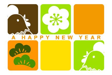 酉年無料年賀状 鶏と松竹梅