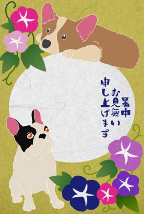 【犬】コーギーとフレンチブルドッグの可愛い暑中見舞いイラストフリー素材