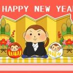 【無料かわいい猿の年賀状】金屏風と門松&紅白の猿だるま
