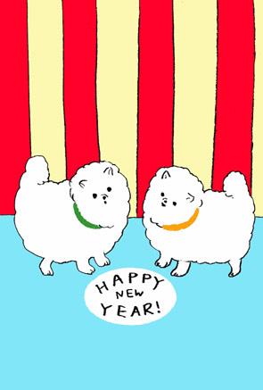 【無料戌年年賀状】シンプルでかわいいイラスト「HAPPY NEW YEAR」