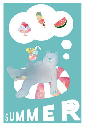 浮き輪に乗るシロクマの暑中見舞いイラストフリー素材