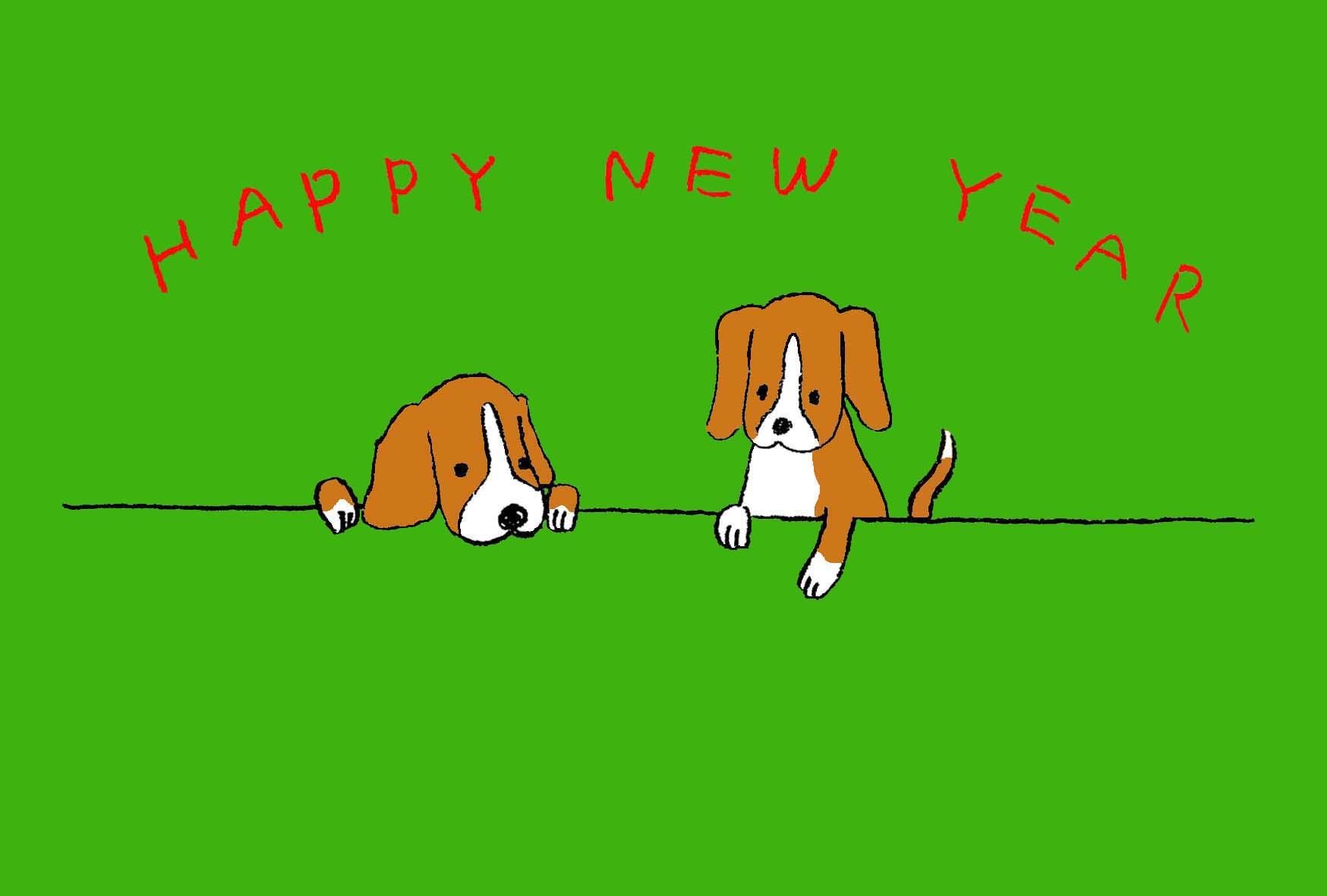 無料戌年年賀状 可愛いビーグル犬のイラスト