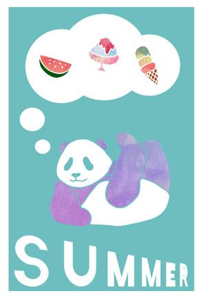 パンダの暑中見舞いイラストフリー素材