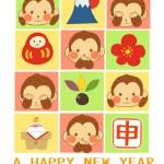 【無料でかわいい年賀状】三猿見ざる言わざる聞かざるとお正月モチーフ