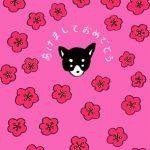【無料戌年年賀状】黒い顔のワンちゃん+梅の花ピンク系デザイン