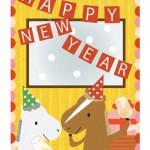 午年年賀状お馬さんパーティー|年賀状イラスト無料ダウンロード