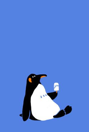 暑中見舞い・残暑見舞い アイスを持ったペンギン文字無しテンプレート