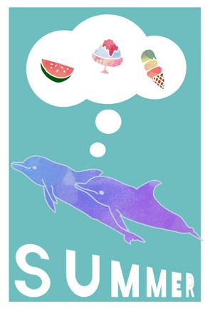 かわいいイルカの暑中見舞いイラストフリー素材