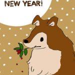 【無料】柊を咥えた犬のイラスト年賀状【戌年】