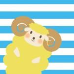 【未年年賀状】かわいいストライプorチェックの背景羊イラスト年賀状3枚