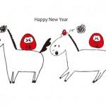 お馬さん2頭とだるまイラスト年賀状 白背景