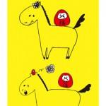 お馬さん2頭&だるまさんイラスト年賀状縦型黄色背景【無料ダウンロード】