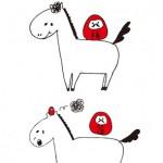 お馬さん2頭&だるまさんイラスト年賀状縦型 白背景【無料ダウンロード】
