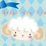 無料の横型年賀状青系羊のイラスト2枚【未年】可愛い女性向けデザイン
