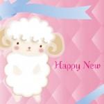【無料】羊イラスト年賀状ピンク色系背景2枚【未年】