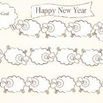 【無料】かわいい羊の行列双六イラスト年賀状色違い2枚【未年】