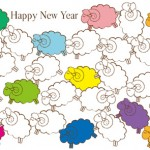 【無料】シンプル&カラフル羊の群れイラスト年賀状