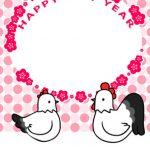 【無料酉年年賀状】縦型にわとり夫婦【ピンク基調】