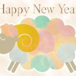 羊イラスト年賀状|落ち着いたカラフルな色合い