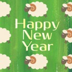 2015年可愛い羊の年賀状|グリーン背景緑色