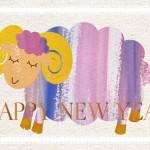 無料年賀状イラスト羊|紫系の色合い