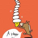 鏡餅とお馬さん年賀状イラスト無料ダウンロード
