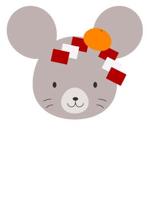 シンプルな鼠イラスト子年年賀状【無料】
