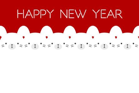 シンプルでかわいい白鼠連続イラスト無料年賀状