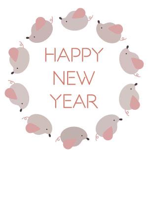シンプルねずみイラスト年賀状 HAPPY NEW YEAR【無料】
