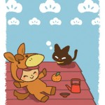 午年年賀状 馬の着ぐるみ+黒猫イラスト無料年賀状 2026年