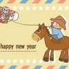 【無料】午年イラスト年賀状 可愛いカウボーイ+凧+乗馬 2026年