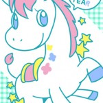 【無料イラスト年賀状】かわいいユニコーン 馬 午年 2026年